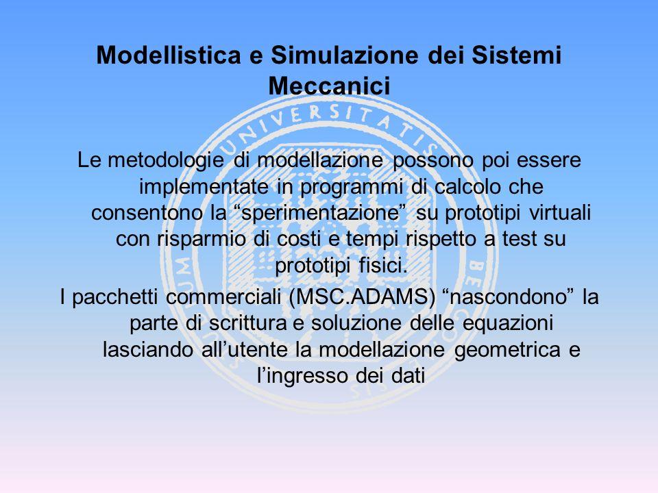 F M Modellistica e Simulazione dei Sistemi Meccanici Sistema Multicorpo è un insieme di due o più corpi (rigidi o flessibili) collegati tra loro in modo che sia conservata la possibilità di moto relativo