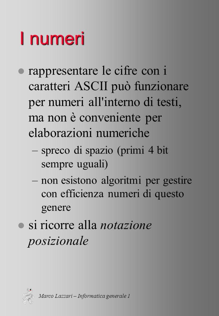 Marco Lazzari – Informatica generale 1 I numeri l rappresentare le cifre con i caratteri ASCII può funzionare per numeri all interno di testi, ma non è conveniente per elaborazioni numeriche –spreco di spazio (primi 4 bit sempre uguali) –non esistono algoritmi per gestire con efficienza numeri di questo genere l si ricorre alla notazione posizionale