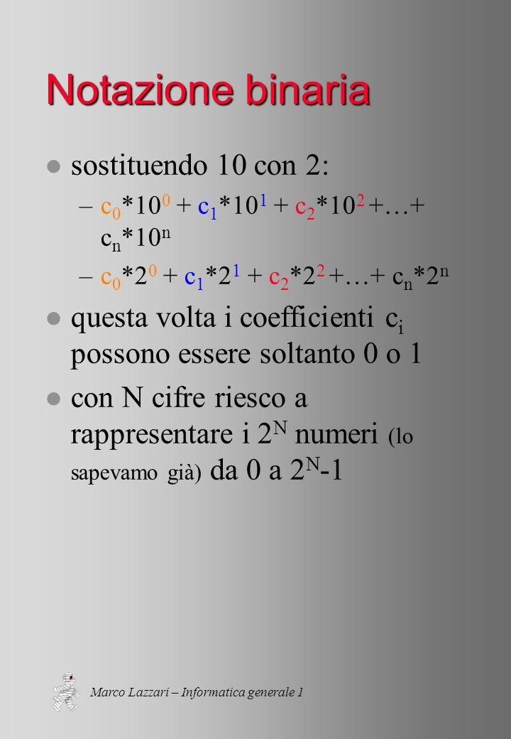 Marco Lazzari – Informatica generale 1 Notazione binaria l sostituendo 10 con 2: –c 0 *10 0 + c 1 *10 1 + c 2 *10 2 +…+ c n *10 n –c 0 *2 0 + c 1 *2 1 + c 2 *2 2 +…+ c n *2 n l questa volta i coefficienti c i possono essere soltanto 0 o 1 l con N cifre riesco a rappresentare i 2 N numeri (lo sapevamo già) da 0 a 2 N -1