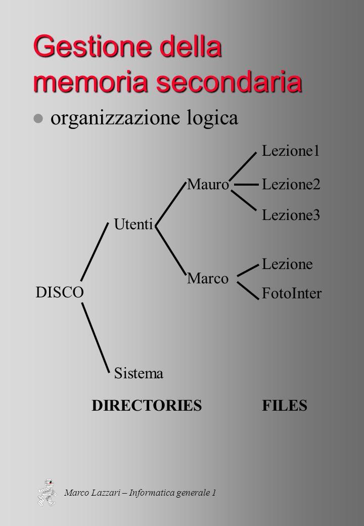 Marco Lazzari – Informatica generale 1 Gestione della memoria secondaria l organizzazione logica DISCO Utenti Sistema Mauro Marco Lezione1 Lezione2 Lezione3 Lezione FotoInter DIRECTORIESFILES