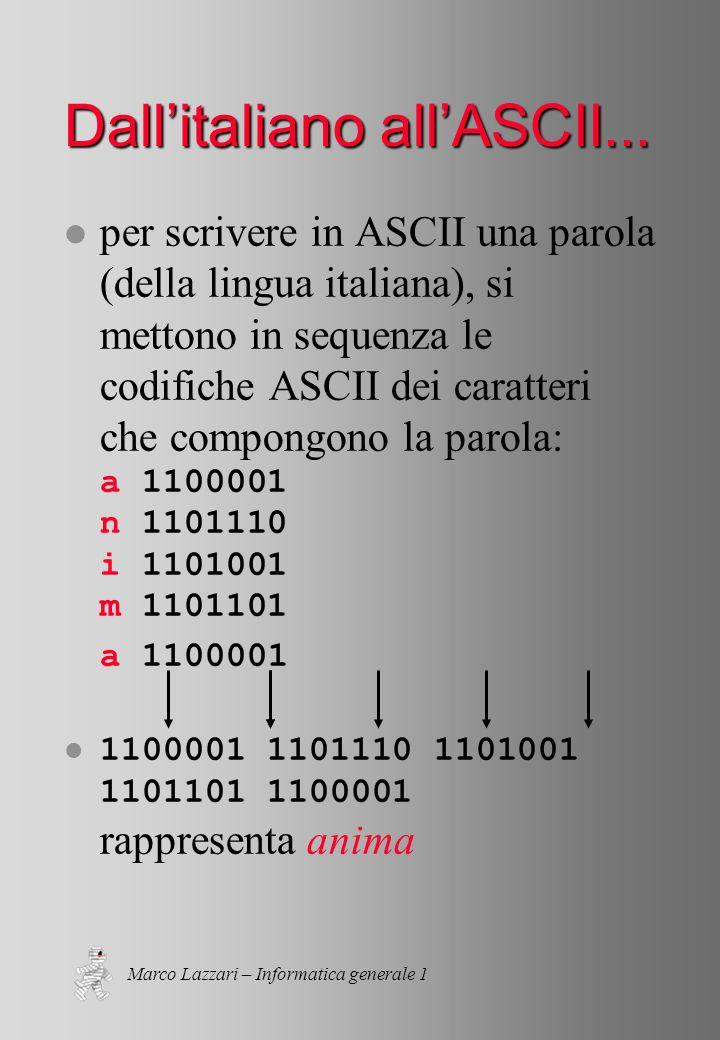 Marco Lazzari – Informatica generale 1 Dallitaliano allASCII...