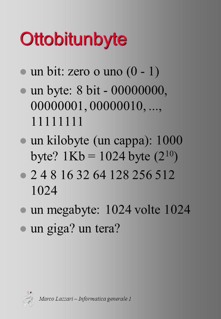 Marco Lazzari – Informatica generale 1 Ottobitunbyte l un bit: zero o uno (0 - 1) l un byte: 8 bit - 00000000, 00000001, 00000010,..., 11111111 l un kilobyte (un cappa): 1000 byte.