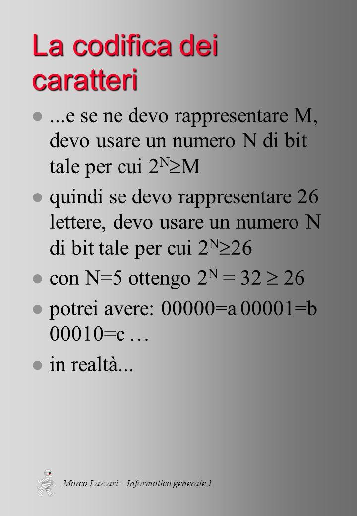Marco Lazzari – Informatica generale 1 La codifica dei caratteri l...e se ne devo rappresentare M, devo usare un numero N di bit tale per cui 2 N M l quindi se devo rappresentare 26 lettere, devo usare un numero N di bit tale per cui 2 N 26 l con N=5 ottengo 2 N = 32 26 l potrei avere: 00000=a 00001=b 00010=c … l in realtà...