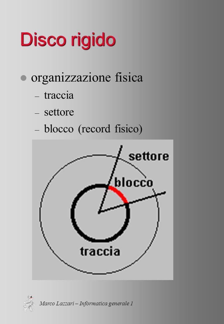Marco Lazzari – Informatica generale 1 Disco rigido l organizzazione fisica – traccia – settore – blocco (record fisico)