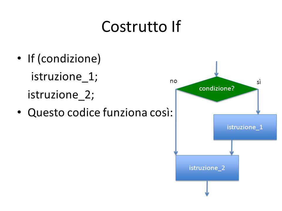 Costrutto If If (condizione) istruzione_1; istruzione_2; Questo codice funziona così: condizione? istruzione_1 istruzione_2 no sì