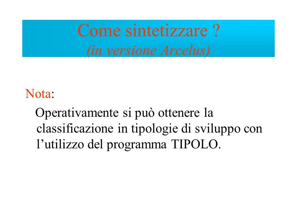 Nota: Operativamente si può ottenere la classificazione in tipologie di sviluppo con lutilizzo del programma TIPOLO. Come sintetizzare ? (in versione