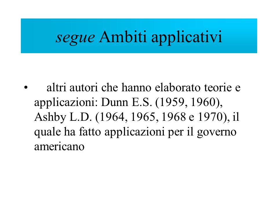 segue Ambiti applicativi altri autori che hanno elaborato teorie e applicazioni: Dunn E.S. (1959, 1960), Ashby L.D. (1964, 1965, 1968 e 1970), il qual