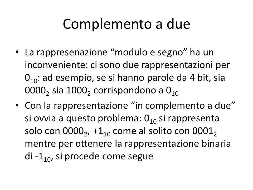Complemento a due La rappresenazione modulo e segno ha un inconveniente: ci sono due rappresentazioni per 0 10 : ad esempio, se si hanno parole da 4 bit, sia 0000 2 sia 1000 2 corrispondono a 0 10 Con la rappresentazione in complemento a due si ovvia a questo problema: 0 10 si rappresenta solo con 0000 2, +1 10 come al solito con 0001 2 mentre per ottenere la rappresentazione binaria di -1 10, si procede come segue
