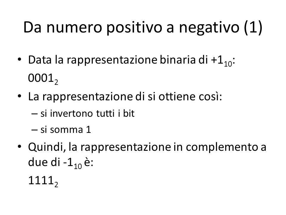 Da numero positivo a negativo (1) Data la rappresentazione binaria di +1 10 : 0001 2 La rappresentazione di si ottiene così: – si invertono tutti i bit – si somma 1 Quindi, la rappresentazione in complemento a due di -1 10 è: 1111 2