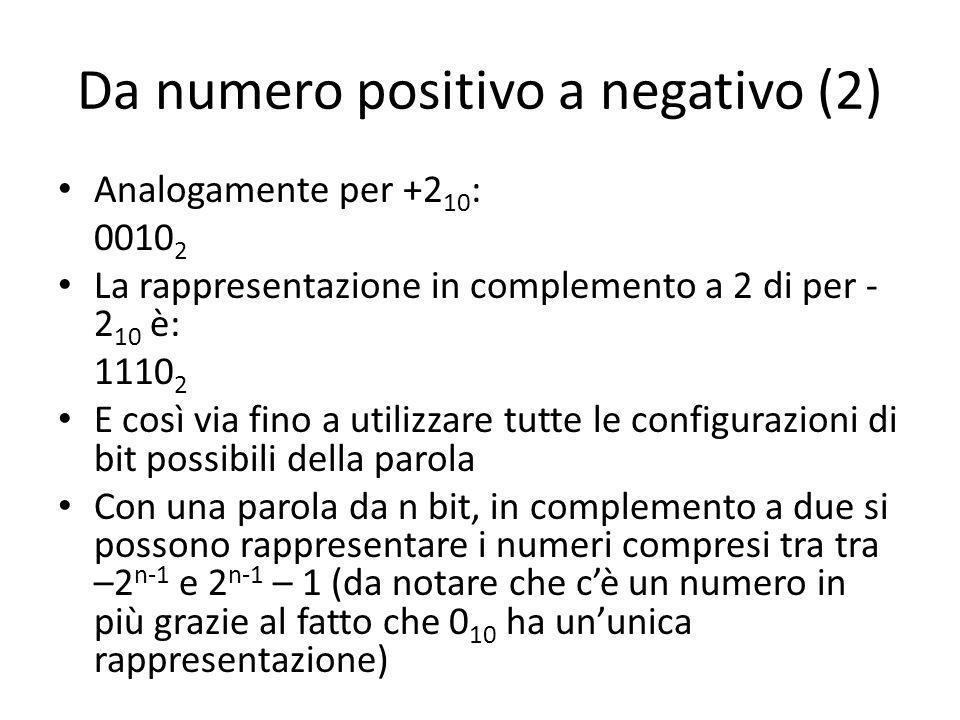 Da numero positivo a negativo (2) Analogamente per +2 10 : 0010 2 La rappresentazione in complemento a 2 di per - 2 10 è: 1110 2 E così via fino a utilizzare tutte le configurazioni di bit possibili della parola Con una parola da n bit, in complemento a due si possono rappresentare i numeri compresi tra tra –2 n-1 e 2 n-1 – 1 (da notare che cè un numero in più grazie al fatto che 0 10 ha ununica rappresentazione)