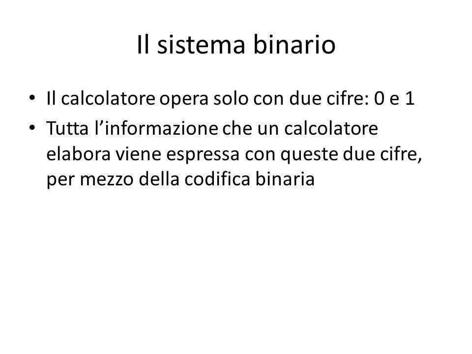 Il sistema binario Il calcolatore opera solo con due cifre: 0 e 1 Tutta linformazione che un calcolatore elabora viene espressa con queste due cifre, per mezzo della codifica binaria