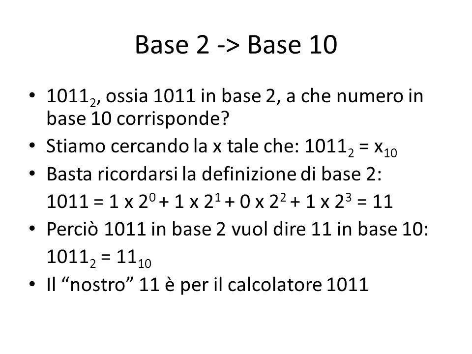 Base 2 -> Base 10 1011 2, ossia 1011 in base 2, a che numero in base 10 corrisponde.