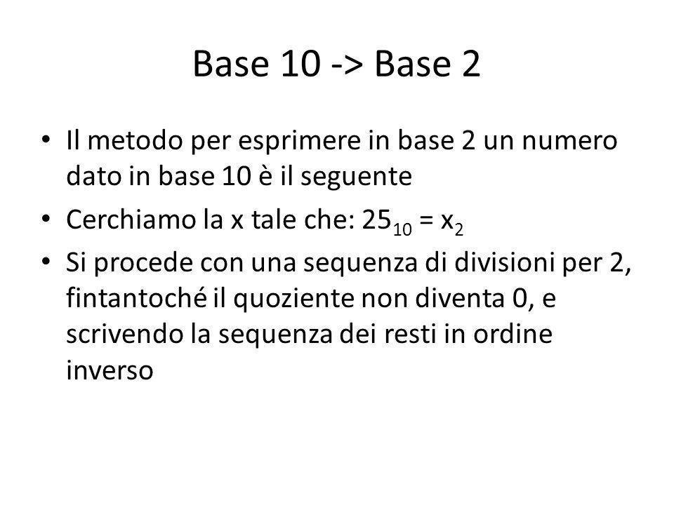 Base 10 -> Base 2 Il metodo per esprimere in base 2 un numero dato in base 10 è il seguente Cerchiamo la x tale che: 25 10 = x 2 Si procede con una sequenza di divisioni per 2, fintantoché il quoziente non diventa 0, e scrivendo la sequenza dei resti in ordine inverso