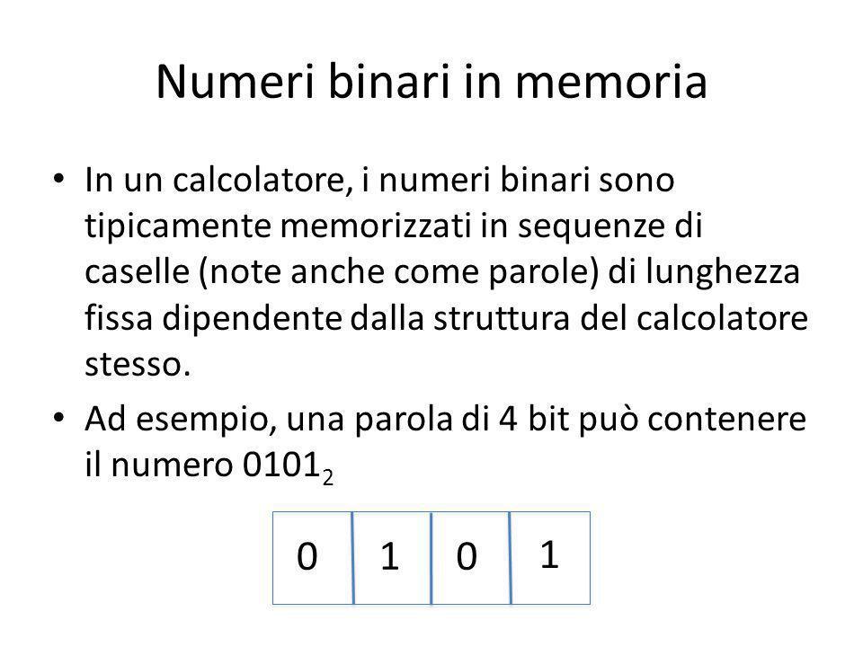 Numeri binari in memoria In un calcolatore, i numeri binari sono tipicamente memorizzati in sequenze di caselle (note anche come parole) di lunghezza fissa dipendente dalla struttura del calcolatore stesso.