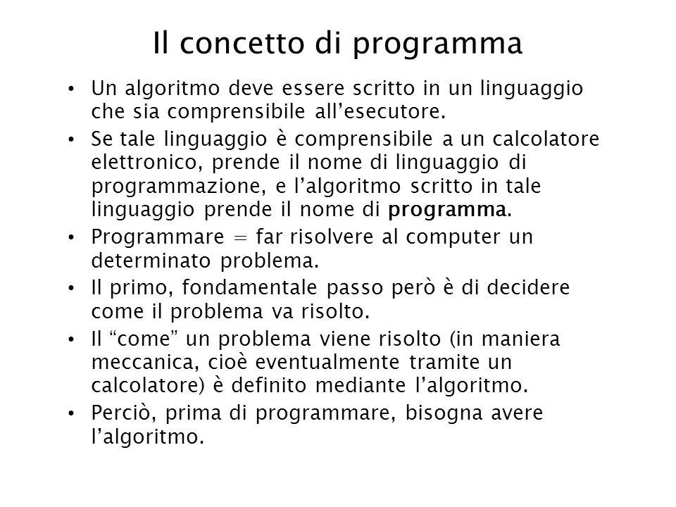 Il concetto di programma Un algoritmo deve essere scritto in un linguaggio che sia comprensibile allesecutore. Se tale linguaggio è comprensibile a un