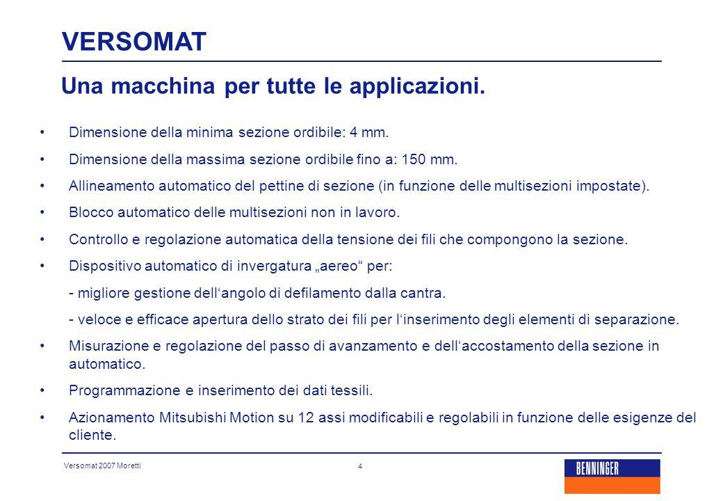 Versomat 2007 Moretti 15 Caratteristiche tecniche e tempistiche di lavoro: VERSOMAT - - Sezione più piccola ordita: 1,5 mm.