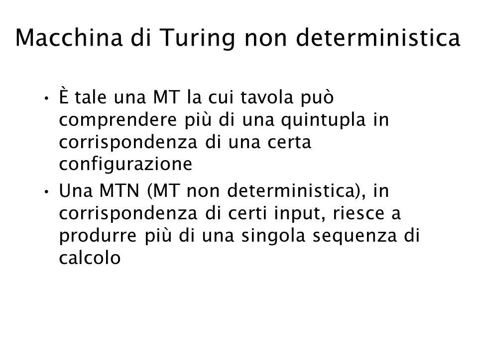 Macchina di Turing non deterministica È tale una MT la cui tavola può comprendere più di una quintupla in corrispondenza di una certa configurazione U