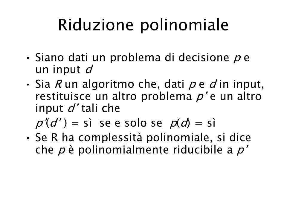 Riduzione polinomiale Siano dati un problema di decisione p e un input d Sia R un algoritmo che, dati p e d in input, restituisce un altro problema p