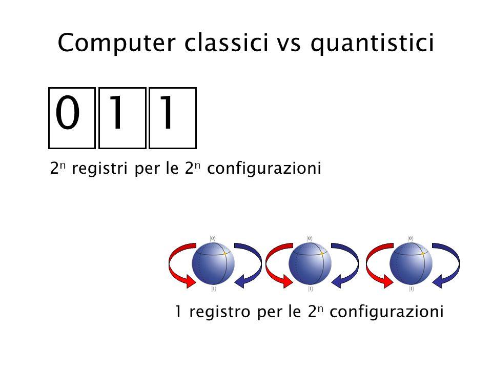 Computer classici vs quantistici 011 2 n registri per le 2 n configurazioni 1 registro per le 2 n configurazioni