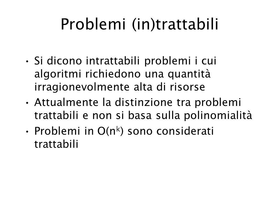 Problemi (in)trattabili Si dicono intrattabili problemi i cui algoritmi richiedono una quantità irragionevolmente alta di risorse Attualmente la disti
