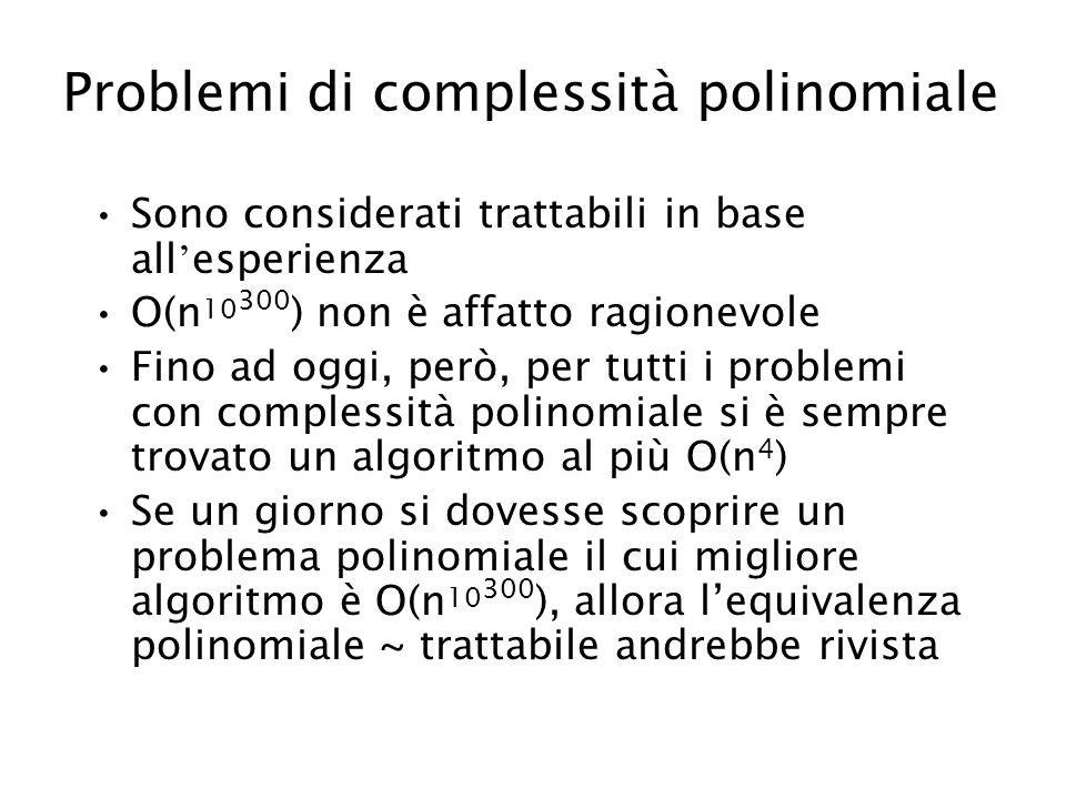 Problemi di complessità polinomiale Sono considerati trattabili in base all esperienza O(n 10 300 ) non è affatto ragionevole Fino ad oggi, però, per