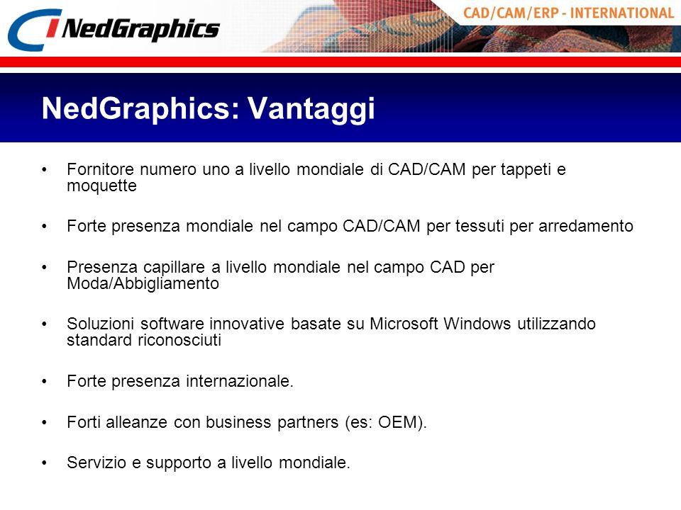 NedGraphics: Vantaggi Fornitore numero uno a livello mondiale di CAD/CAM per tappeti e moquette Forte presenza mondiale nel campo CAD/CAM per tessuti