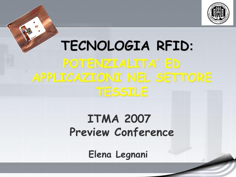TECNOLOGIA RFID : POTENZIALITA ED APPLICAZIONI NEL SETTORE TESSILE ITMA 2007 Preview Conference Elena Legnani