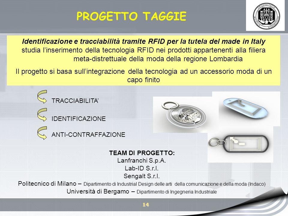 14 PROGETTO TAGGIE Identificazione e tracciabilità tramite RFID per la tutela del made in Italy studia linserimento della tecnologia RFID nei prodotti