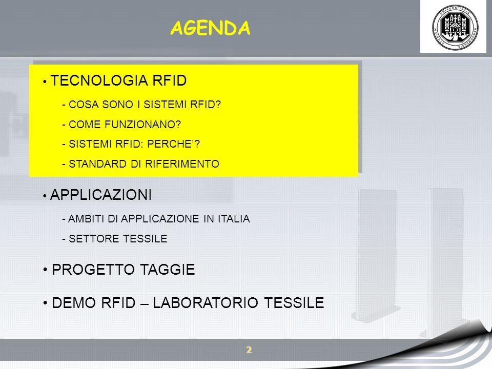 13 AGENDA TECNOLOGIA RFID - COSA SONO I SISTEMI RFID.