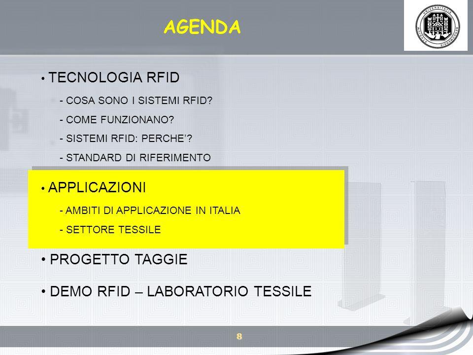 9 AMBITI DI APPLICAZIONE IN ITALIA Nel 2007 sono state rilevate 835 applicazioni: - 300 esecutive (solo 136 nel 2006) - 135 sperimentali - 400 studi di fattibilità Fonte: Rapporto 2007 Osservatorio RFID, School of Management, Politecnico di Milano