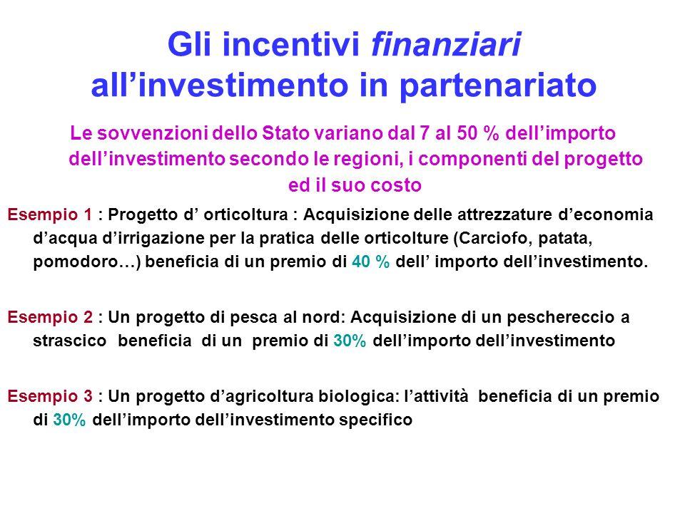 Gli incentivi finanziari allinvestimento in partenariato Le sovvenzioni dello Stato variano dal 7 al 50 % dellimporto dellinvestimento secondo le regi