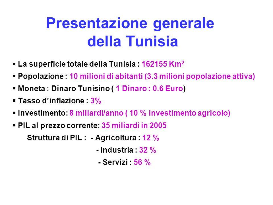 Presentazione generale della Tunisia La superficie totale della Tunisia : 162155 Km 2 Popolazione : 10 milioni di abitanti (3.3 milioni popolazione at