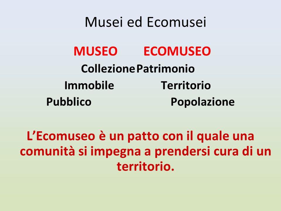Musei ed Ecomusei MUSEO ECOMUSEO CollezionePatrimonio Immobile Territorio Pubblico Popolazione LEcomuseo è un patto con il quale una comunità si impegna a prendersi cura di un territorio.