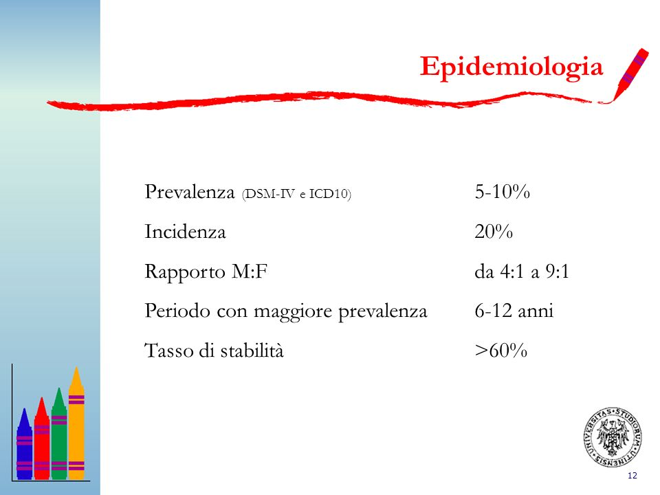 12 Epidemiologia Prevalenza (DSM-IV e ICD10) 5-10% Incidenza20% Rapporto M:Fda 4:1 a 9:1 Periodo con maggiore prevalenza6-12 anni Tasso di stabilità>6