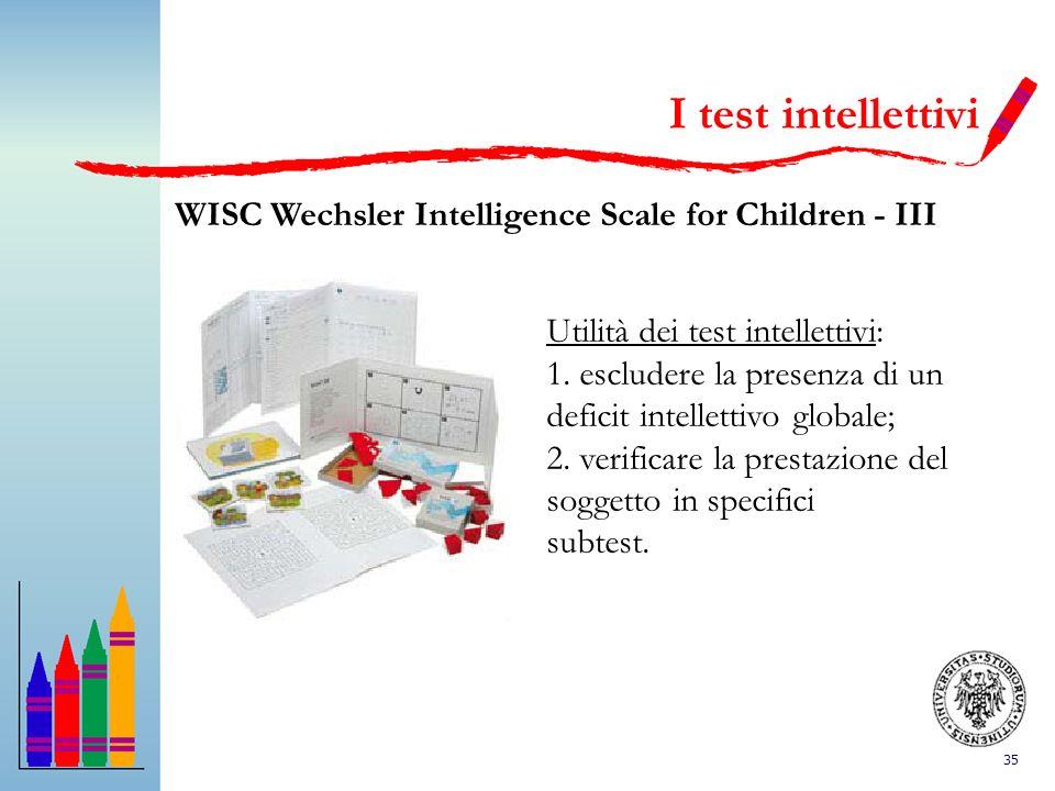 35 I test intellettivi WISC Wechsler Intelligence Scale for Children - III Utilità dei test intellettivi: 1. escludere la presenza di un deficit intel