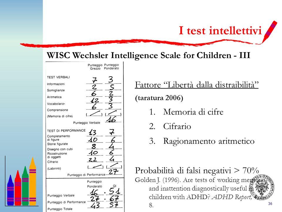 36 I test intellettivi WISC Wechsler Intelligence Scale for Children - III Fattore Libertà dalla distraibilità (taratura 2006) 1.Memoria di cifre 2.Ci