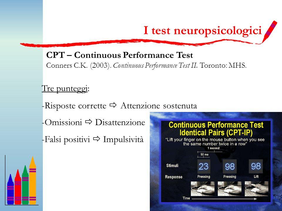 44 CPT – Continuous Performance Test Conners C.K. (2003). Continuous Performance Test II. Toronto: MHS. Tre punteggi: -Risposte corrette Attenzione so