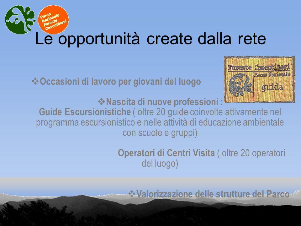Le opportunità create dalla rete Occasioni di lavoro per giovani del luogo Nascita di nuove professioni : Guide Escursionistiche ( oltre 20 guide coin