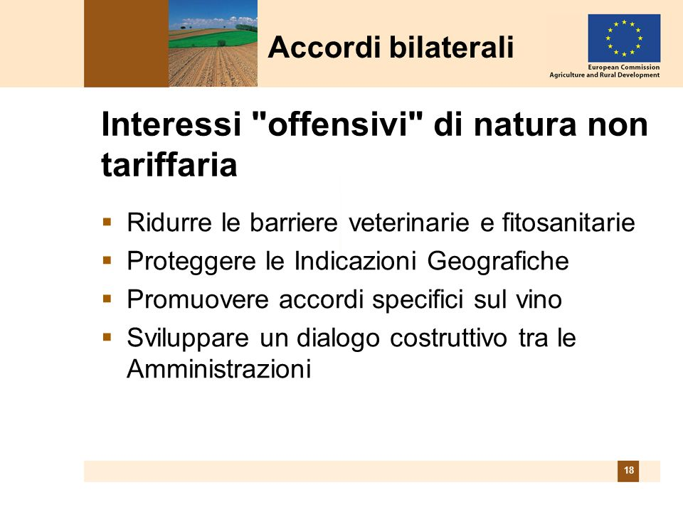 18 Interessi offensivi di natura non tariffaria Ridurre le barriere veterinarie e fitosanitarie Proteggere le Indicazioni Geografiche Promuovere accordi specifici sul vino Sviluppare un dialogo costruttivo tra le Amministrazioni Accordi bilaterali