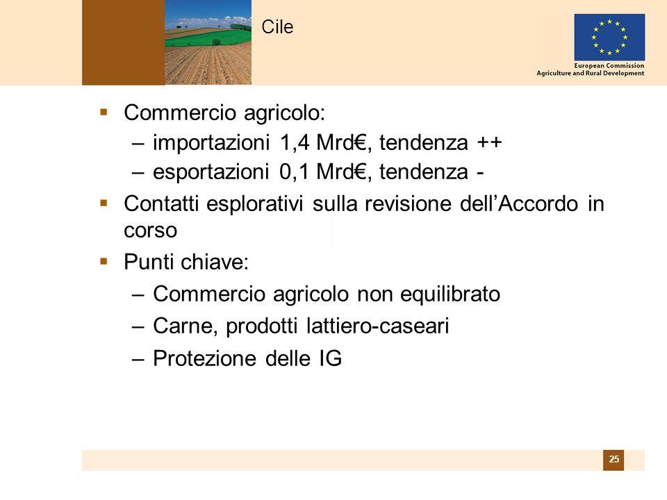 25 Commercio agricolo: –importazioni 1,4 Mrd, tendenza ++ –esportazioni 0,1 Mrd, tendenza - Contatti esplorativi sulla revisione dellAccordo in corso Punti chiave: –Commercio agricolo non equilibrato –Carne, prodotti lattiero-caseari –Protezione delle IG Cile
