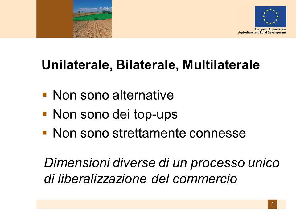 3 Unilaterale, Bilaterale, Multilaterale Non sono alternative Non sono dei top-ups Non sono strettamente connesse Dimensioni diverse di un processo unico di liberalizzazione del commercio