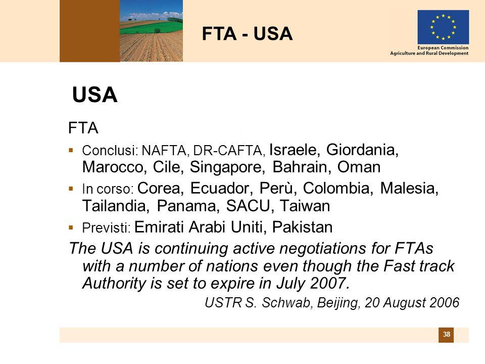 38 USA FTA Conclusi: NAFTA, DR-CAFTA, Israele, Giordania, Marocco, Cile, Singapore, Bahrain, Oman In corso: Corea, Ecuador, Perù, Colombia, Malesia, T