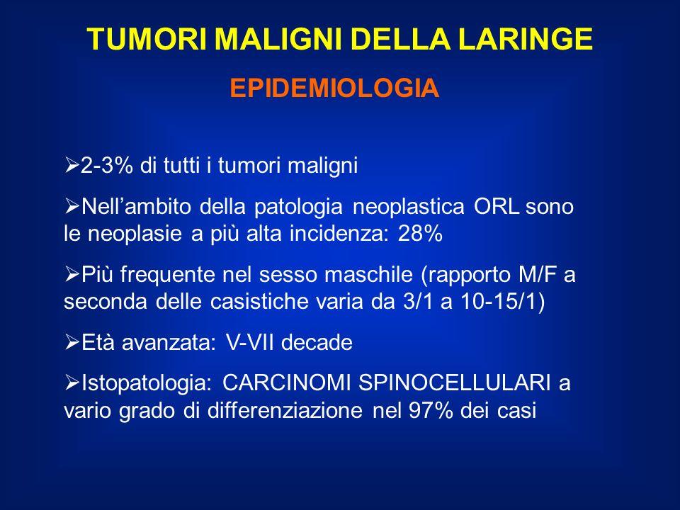 TUMORI MALIGNI DELLA LARINGE STRATEGIA DI TRATTAMENTO SEDE SOVRAGLOTTICA T1-T2NO: chirurgia preferenziale - Chirurgia conservativa (Laringectomia orizzontale sovraglottica, Epiglottectomia) con svuotamento selettivo del collo (II, III, IV livello) - Radioterapia postoperatoria per i casi a rischio di recidiva: margini di sezione positivi 3 o più linfonodi positivi rottura extracapsulare - Radioterapia nei casi non operabili