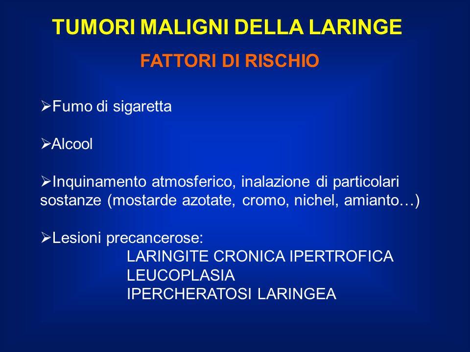 TUMORI MALIGNI DELLA LARINGE STRATEGIA DI TRATTAMENTO SEDE SOVRAGLOTTICA T3-T4NO: chirurgia preferenziale - Chirurgia conservativa, subtotale ricostruttiva o Laringectomia totale con svuotamento selettivo del collo (II, III, IV livello) - Radioterapia postoperatoria se indicata - Radioterapia esclusiva o radiochemioterapia nei casi non operabili N1-3: il trattamento del collo è di norma correlato al trattamento effettuato sul tumore primitivo