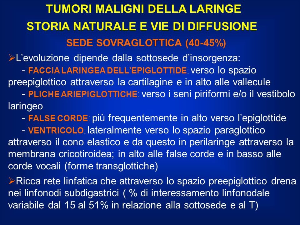 TUMORI MALIGNI DELLA LARINGE STRATEGIA DI TRATTAMENTO SEDE GLOTTICA T1N0: radioterapia limitata alla laringe come alternativa alla chirurgia conservativa T2N0: - chirurgia conservativa preferenziale sul T - radioterapia su laringe se la chirurgia conservativa non è possibile Risultati analoghi in termini di controllo locale della malattia; migliore qualità della voce dopo radioterapia CONTROLLO LOCALE: RADIOTERAPIA T1: 90-95% T2: 65-75% CHIRURGIA T1: 95% T2:80%