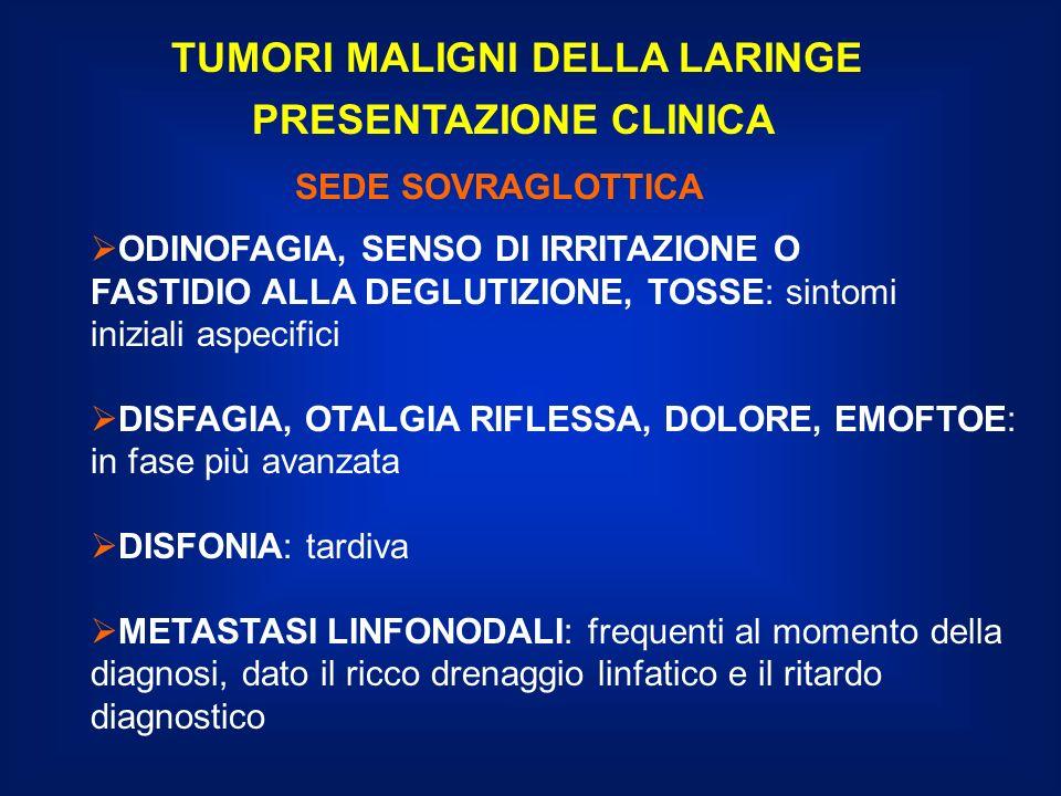 TUMORI MALIGNI DELLA LARINGE PRESENTAZIONE CLINICA DISFONIA: precocissima nelle localizzazioni cordali, consente una diagnosi precoce.