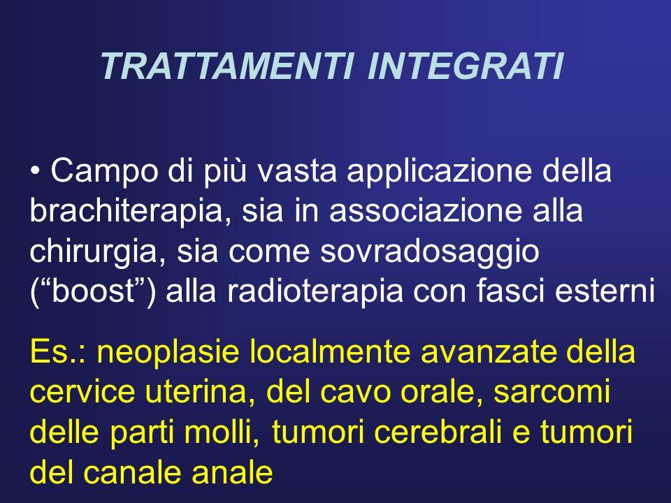 TRATTAMENTI INTEGRATI Campo di più vasta applicazione della brachiterapia, sia in associazione alla chirurgia, sia come sovradosaggio (boost) alla rad