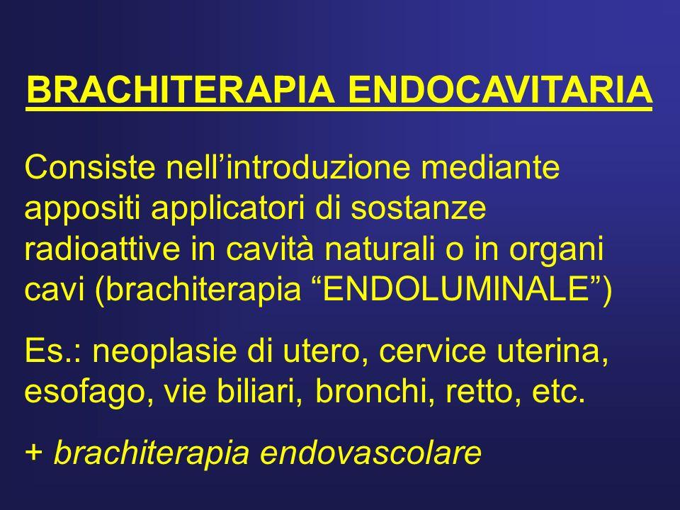 BRACHITERAPIA ENDOCAVITARIA Consiste nellintroduzione mediante appositi applicatori di sostanze radioattive in cavità naturali o in organi cavi (brach