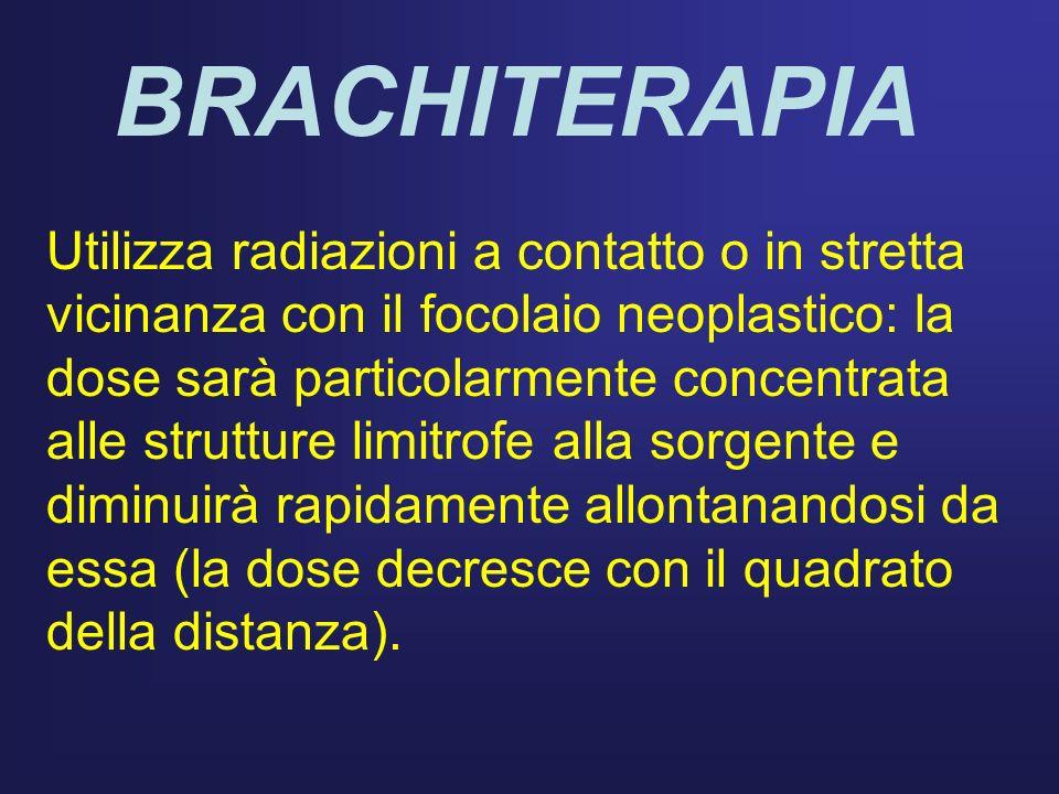 BRACHITERAPIA Utilizza radiazioni a contatto o in stretta vicinanza con il focolaio neoplastico: la dose sarà particolarmente concentrata alle struttu