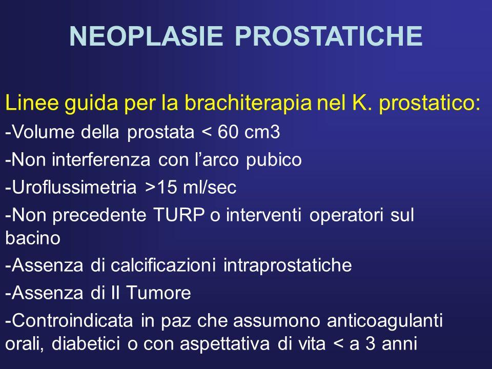 NEOPLASIE PROSTATICHE Linee guida per la brachiterapia nel K. prostatico: -Volume della prostata < 60 cm3 -Non interferenza con larco pubico -Urofluss